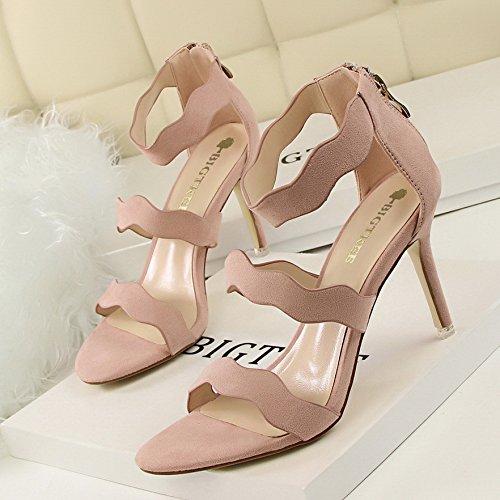 LGK&FA Cavo Sottile Stilettos Con Un Sottile Tutti-Match Wave Suede Sandali 34 Grigio 35 Pink