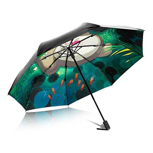 PARAMITA Paraguas de viaje, Marco reforzado a prueba de viento, Ligero, Paraguas plegable Impermeable a prueba de viento Protector solar y protección UV, Anime japonés, Para niños, Amigos, Familia