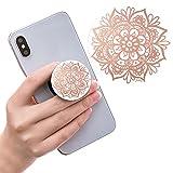 Ausziehbarer Sockel für Handy und Griff für Smartphones und Tablets - Rose Gold Mandala Blumen