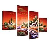 Bilderdepot24 Wandbild - Toskana M1 - handgemaltes Leinwandbild 120x80cm 4 teilig 444