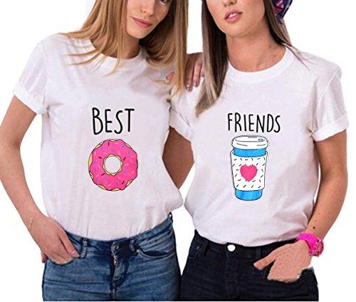 *Best Friends T-shirt Mädchen Für 2 Sommer Shirt Damen Weiß Oberteil Süß mit Aufdruck Donuts Getränke 2 Stücke kurz Schwarz JWBBU® (Donuts-L+ Getränke-L, Weiß)*