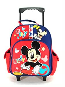 Small Size Blue and Red Mickey and Goofy Rolling Backpack - Mickey Mouse Luggage with Wheels