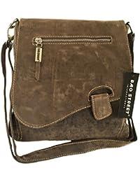 Handtasche Schultertasche Umhängetasche von Bag Street, Riegel (braun) in Wildlederoptik 3416