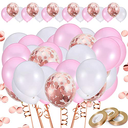 Price comparison product image 83 pcs Pink Balloons Set,  20 Rose Gold Confetti + 30 Pink + 30 White 12 inch Latex Balloons with 3pcs Balloon Ribbons,  Wedding,  Hen Party,  Birthday,  Baby Shower & Pink Party Decorations (Pink)