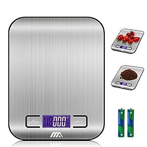 ADORIC Digitalwaage Professionelle Electronische Waage, Küchenwaage mit LCD Display-wunderbare Präzision auf bis zu 1g(5kg Maximalgewicht)-Silbrig