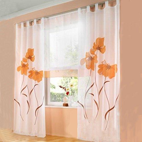 Simpvale 2 pezzi tende della soggiorno a garofano stampato floreale manuale larghezza 150 cm, arancione, altezza 225cm