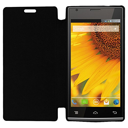 Acm Leather Diary Folio Flip Flap Case For Lava Iris 470 Mobile Front & Back Cover Black  available at amazon for Rs.179
