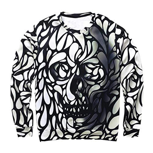 (ITISME TOPS Mens Casual Scary Halloween Kürbis 3D Print Party Langarm Hoodie Top Bluse)