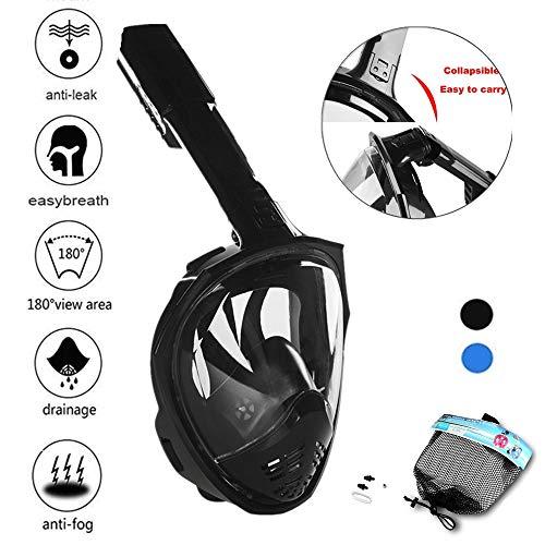 Nueva Máscara de Buceo Cara Completa 180° con Tubo Plegable Máscara facial de snorkel con Vista Panorámica ecnología Anti–vaho y Anti–fugas