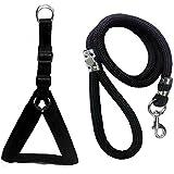 Skora Nylon Padded Black Adjustable Dog Harness & Leash Rope 1 inch for Medium Size Pet (Chest Size : 24-29)