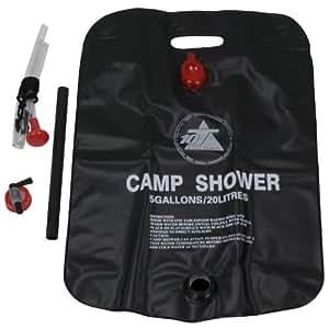 10T Sola 20 Solar Gartendusche 20 Liter Solardusche Campingdusche Outdoor Dusche Reisedusche mit Duschkopf, Schlauch, Griffstange und Seil zum Aufhängen