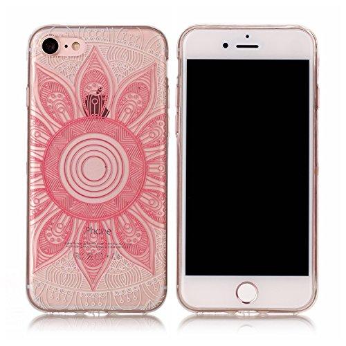 iPhone 7 / 7s Hülle, E-Lush TPU Soft Silikon Tasche Transparent Schale Clear Klar Hanytasche für iPhone 7 / 7s Durchsichtig Rückschale Ultra Slim Thin Dünne Schutzhülle Weiche Flexibel Handyhülle Krat Rosa Sonnenblumen