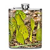 Rundafuwu Flask Stainless Steel Flask Mud Pudlling of A Group of Butterflies Common Gull and Yellow Orange Tip Butterflies Fashion Portable Stainless Steel Hip Flask Whiskey Bottle for Men and Women