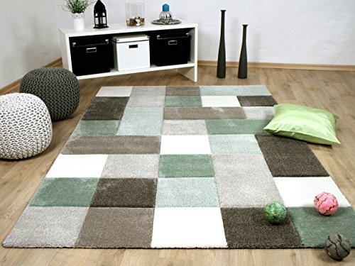 Designer Teppich Maui Pastell Grün Beige Karo in 4 Größen Grün Schwarz Beige-teppich