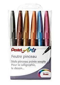Pentel Pochette de 6 Feutres Pinceaux à Pointe Souple pour Esquisse/Calligraphie Couleurs Assorties Pochette Artist Rose/Bleu Ciel/Ocre/Marron/Gris/Orange