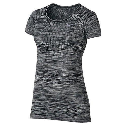 Nike Damen Dri-FIT Knit T-Shirt, Black/Heather, M (Knit Nike Dri-fit)