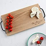 Personalised Large Rustic Wooden Chopping Board/Cheese Board/Christmas Gifts For Couples - 40x20cm Oak Board with Handles