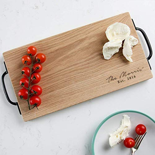 Personalised Large Rustic Wooden Chopping Board/Cheese Board - 40x20cm Oak or Walnut with Handles