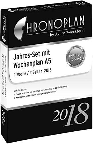 Chronoplan 50298 Kalendereinlage 2018, Jahres-Set A5 mit Wochenplan (1 Woche/2 Seiten), weiß