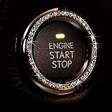 Crystal Rhinestone Car Bling Ring Emblem Sticker, Bling Car Accessories, Diamond Push to Start Button Bling, Key Ignition Sta