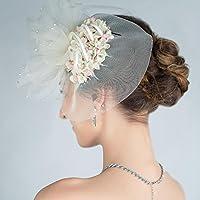CarShi Cappelli Da Sposa Velo Di Femminile Cocktail Partito Fiore Nuziale Perle Strass . White