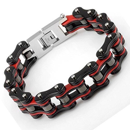 Yorwell Herren Armband Edelstahl Armband Fahrradkette Armreif Herren Rot Schwarz Armband motorradkette Schmuck Herren Mit Geschenkscha