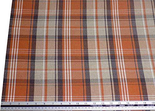 Evans Lichfield Stirling Tartan à Carreaux Laine Look And Feel Orange Crème Fabric Matériel Vendu au Mètre