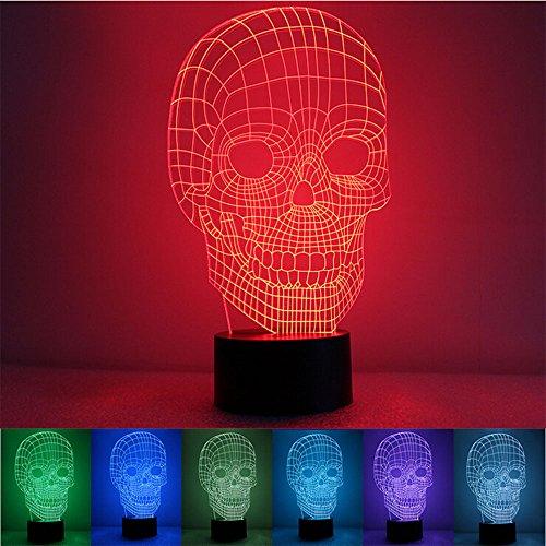 Luz para mesita de nave espacial en 3D, ilusión óptica de 7colores cambiantes con pulsador, USB, produce una visualización única con efectos de iluminación, acrílico, calavera, 7.4*5.7inch