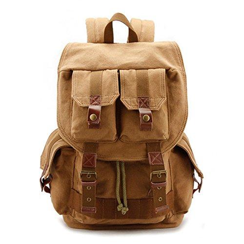 DRF Canvas Rucksack mit Kameratasche für SLR Kamera Vintage Backpack mit Regenschutz für Outdoor #BG-15 (Khaki) (Canon G 17)