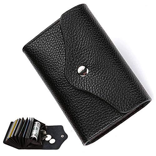 Porta Carte di Credito In Pelle RFID Blocco Portafoglio Doppio Fibbia Sottile Porta Tessere Portamonete con cerniera 14 Scomparti