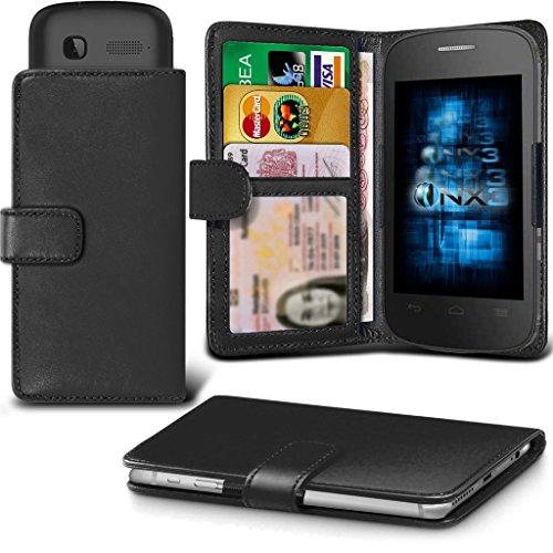 (Black) Alcatel Idol 3C Hülle Abdeckung Cover Case schutzhülle Tasche Verstellbarer Feder Mappe Identifikation-Kartenhalter-Kasten-Abdeckung ONX3