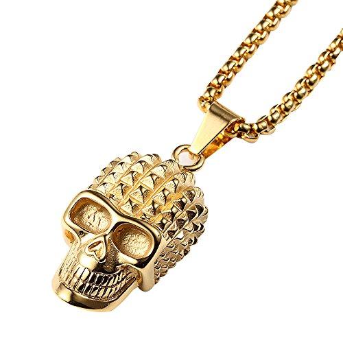 Kangqifen Schmuck Herren Damen Halskette,18K Vergoldet Schädel Anhänger Halskette,60cm (Mädchen Indische Wolf Kostüm)