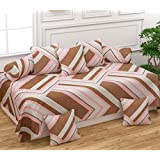 Teyja collections Super Soft Glace Cotton Checkered Diwan Set(1 Diwan Sheet, 2 Bolster Covers and 5 Cushion Covers)(Brown)
