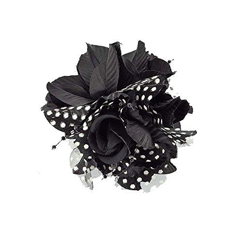 Hummerzange Hat Haar–Kunststoff und Textil, Spitzenmuster, Perlen–Blume schwarz–11cm–Zubehör Frisur