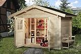 Blockbohlenhaus Neustadt 3 - Ausführung: Gr, 2, Schindelbedarf: 6 Pkt, Außenmaß: 300 x 300 cm, Umb, Raum: 21,2 m³