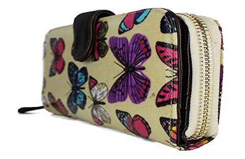 Miss Lulu - Portafoglio con zip in tessuto cerato, motivo a pois Butterfly Beige