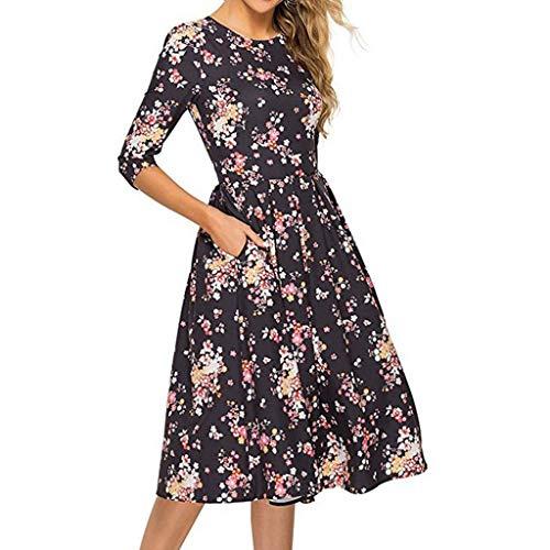 OIKAY Damen Plissee Kleider Rundhals A Linie Faltenkleid Elegant Langarm Midi Kleid Damenmode Halbarm Rundhals Print Tasche Taille Kleid
