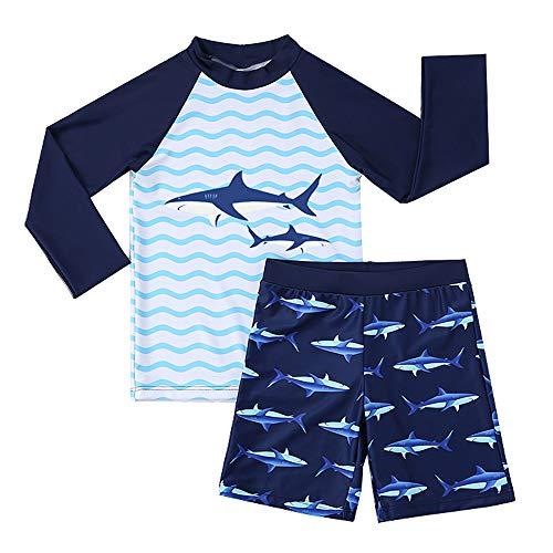 Summer Mae Jungen Shark Zweiteiler Badeanzug Langarm Rash Guard Kleinkind Badebekleidung Blau 5T - Kleinkinder-badebekleidung