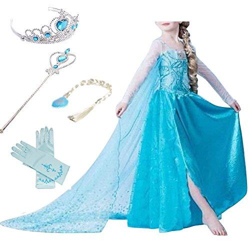 Timesun® Mädchen Prinzessin Schneeflocke Süßer Ausschnitt Kleid Kostüme mit Diadem, Handschuhen, Zauberstab und Zopf, Gr. 98/140 (100 ( Körpergröße 100cm ), #01 kleid mit 4 (Für Cinderella Mädchen Kostüme)