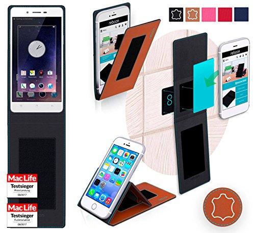 reboon Hülle für Oppo Mirror 5 Tasche Cover Case Bumper | Braun Leder | Testsieger