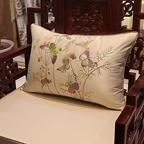 Home divano Decorazione auto ornamento tenere buttare cuscino cuscino Natale ringraziamento Giftchinese-Style Cuscino ricamato cuscino di uccelli indietro divano letto in pelle cuscino auto,45x45cm,Beige