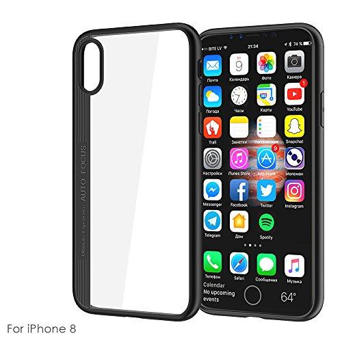 iPhone 8 Hülle Handyhülle,Schutzcase Ultra Thin Soft Anti-Klopfen Ganzkörper-robusten Schutzhülle Transparent Stoßfänger,Stößen für iPhone 8 Case Cover (Black) Black