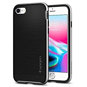 Cover iPhone 7, Cover iPhone 8, Spigen® [Neo Hybrid] [2nd Generation] iPhone 7 cover with Flexible Inner Protection and Reinforced Hard Bumper Frame for iPhone 7 (2016) / iPhone 8 (2017) - Satin Silver - 054CS22359