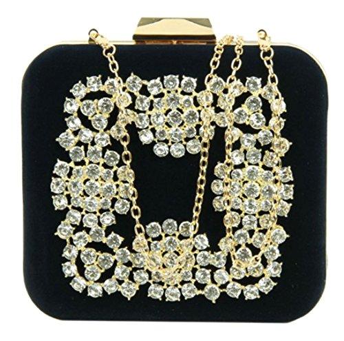 Diamante Compact (Girly HandBags Diamante Compact Clutch Bag - NavyMarine)