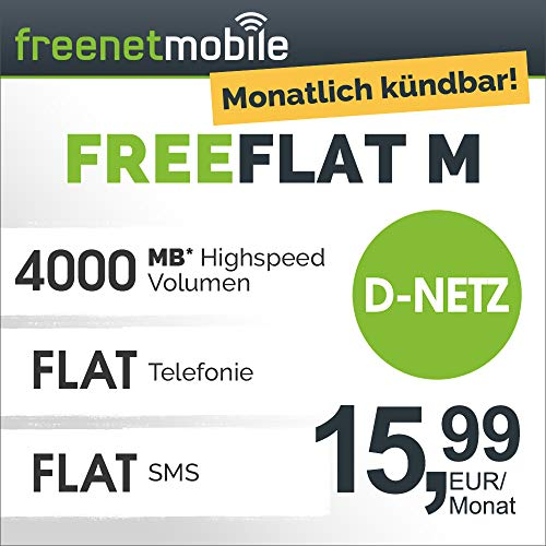 Freenetmobile Freeflat M im D-Netz monatlich kündbar (4 GB LTE Internet-Flat Max. 21 Mbit/S, Telefon- und SMS-Flat in alle dt. Netze, EU-Roaming, 15, 99 EUR/Monat, 25 EUR Rufnummernmitnahme-Bonus)