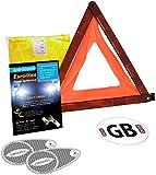 4 Piece European Motoring Driving Travel Kit Eurolites Headlamp Beam Deflectors Converters Warning Triangle GB Sticker High Visibility Vest (XXL) For Travelling Abroad
