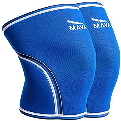 Mava Sports Knee Support Sleeves, Protection and Comfort for Weightlifting and Powerlifting, Blue L