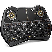 Rii Mini i28C Wireless teclado (layout Español) - Mini teclado ergonómico retroiluminado con doble ratón touchpad para Smart TV, Mini PC Android, , Pad, Andriod TV Box, Google TV Box, Raspberry PI, KODI XBMC TV Box, PS3, HTPC/IPTV, etc (ES-MWK28C)