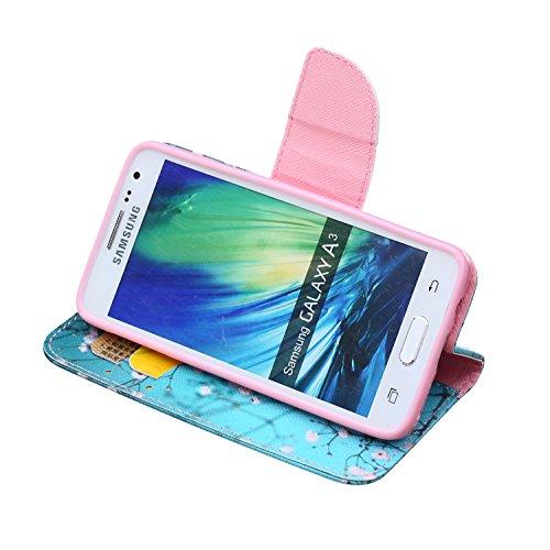 Coque pour Samsung Galaxy S6 Edge Plus, Etui pour Samsung Galaxy S6 Edge Plus, ISAKEN Peinture Style PU Cuir Flip Magnétique Portefeuille Etui Housse de Protection Coque Étui Case Cover avec Stand Sup Fleur Bleu