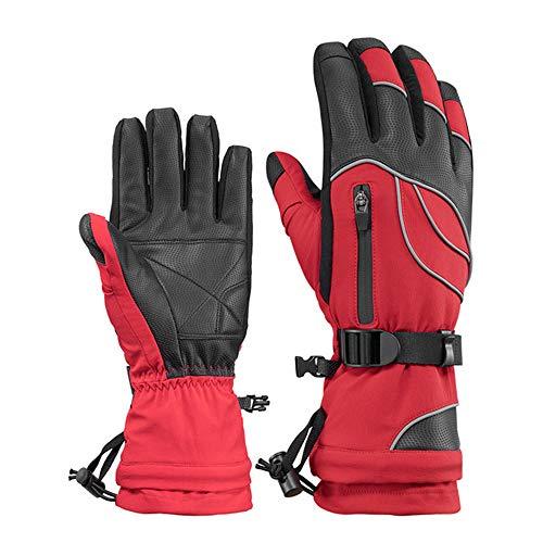 JPVGIA Industriehandschuhe Skihandschuhe für Männer und Frauen warme Reithandschuhe Plus samt wasserdichte Motorrad-Sporthandschuhe , grau/rot (Color : Red, Size : M) -